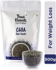 True Elements Raw Chia Seeds for Weight Loss 500g - Calcium Rich Seeds