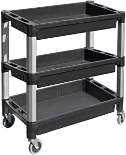 MaxWorks 80873 3-Tray Service Utility Cart With Aluminum Legs & Wheels