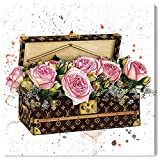 The Oliver Gal Artist Co. Fashion and Glam Wall Art Canvas Prints 'Doll Memories - Trunk Full of Flowers' Home Décor, 20' x 20', Pink, Brown