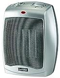 Lasko 754200 Calentador de cerámica con termostato ajustable, Plateado, 6' x 3.7'x 9.2'