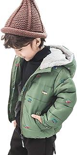 [HSFEO]中綿コート ダウンジャケット 男の子 裏起毛 フード付き かわいい 冬服 ショート丈 厚手 暖かい 防寒 防風 ソフト カジュアル 普段着 アウトドア アウター 車柄 グリーン ネイビー 90-130CM