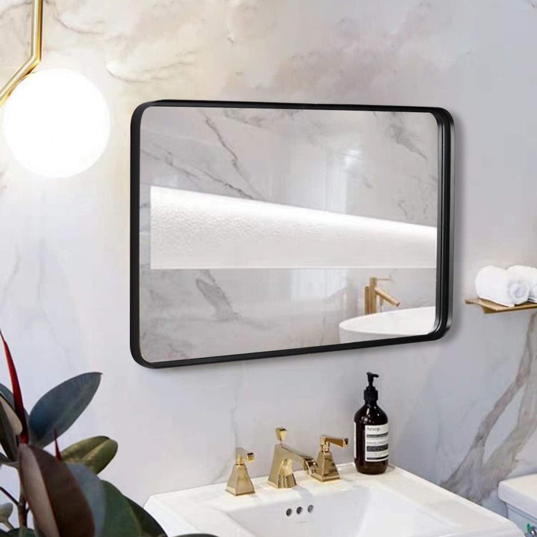 Black Wall Framed Rectangular Mirrors Bathrooms 24