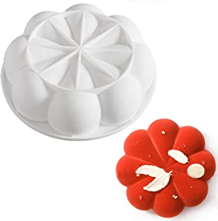 Silicone Mousse Cake Molds for Baking Brownie Chocolate Truffle Pudding Desserts,Nonstick, Easy Release, Food Grade Silicone (3D 8 Petals)
