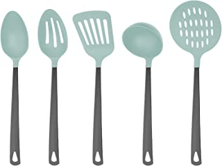 Country Kitchen 5 Piece Mint Green Nylon Cooking Utensil Set on a Ring with Black Gun Metal Stainless Steel Handles