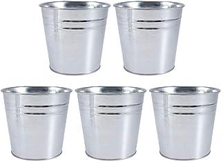 Yardwe 5 Unids Mini Cubos de Metal 12 Piezas Pequeños Cubos de Metal para Plantas De Jardinería Decoración De Fiestas En Casa 12.1x11.5x9.2cm