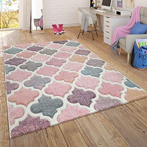 tapijt woonkamer kinderkamer tienerkamer pastel, moderne patronen in roze turquoise mint geel, Maat:240x340 cm, Farbe:Veelkleurig 5