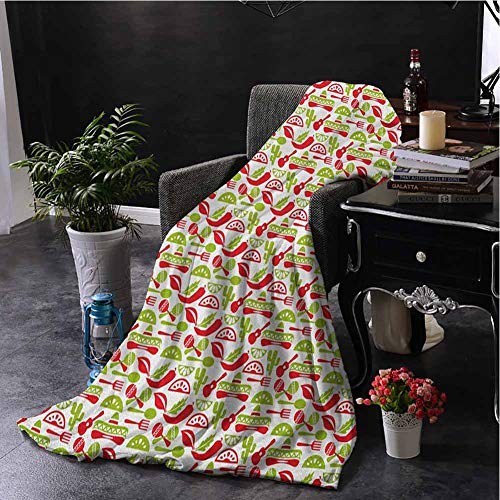 hengshu Fiesta Flannel Fleece Throw Blanket Mexican Civilization Elements Hats Guitars Food Musical Instruments for Living Room Bed or Couch Blanket W70 x L93 Inch Vermilion Apple Green White