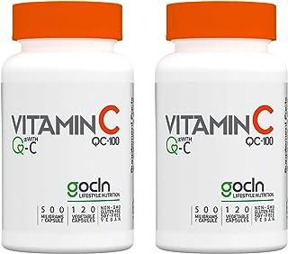 ビタミンC GoCLN QC100 高純度 (Quali-C 100%) - 国内製造 - 2本セット Vitamin C サプリメント 120 カプセル - Manufactured in Japan featuring Q-C 100% (...