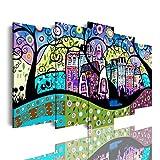 DekoArte 552 - Cuadros Modernos Impresión de Imagen Artística Digitalizada | Lienzo Decorativo para Tu Salón o Dormitorio | Estilo Abstracto Naif Tonos Azules | 5 Piezas 150 x 80 cm