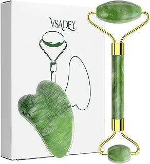VSADEY Rouleau Jade  Massager Jade Facial  Massage Visage 100  Naturel Jade Roller Gua Sha Grattoir  Anti-age pour Visage Pierre Jade pour Votre Visage  Cou  Corps Yeux Cadeau 2PCS
