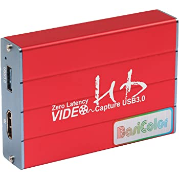 Basicolor キャプチャーボード HDMI USB3.0 1080P 60FPS、Switch PS4 Xbox Wii U ウェブカメラに対応、HDMI パススルー、HDCP、HD HDMIゲーム録画・HDMIビデオ録画・ライブ配信用キャプチャーデバイス、Windows 7/8/10 MacBook Linux Youtube Twitch OBS Potplayer に対応