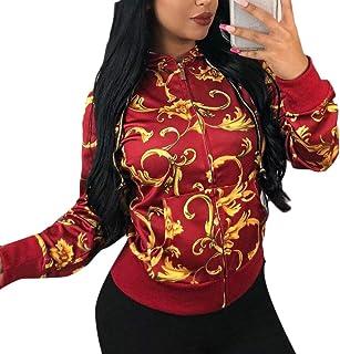maweisong 女性フロント郵便番号カジュアル印刷フーディーフード付きスウェットシャツジャケット