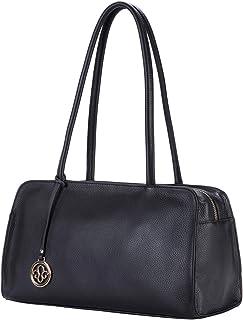Leather Satchel Handbag for Women Purses and Handbags Top Handle Small Tote Shoulder Bag Black Pebble Leather