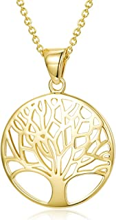 Yellow Gold Filled Tree of Life Pendant Necklace Fashion Delicate Jewelry Gifts for Women Teens Girls Mom Grandma Lover Family with Jewelry Box, 16+2 Inches Extender Chain