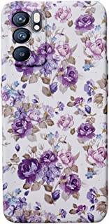 غطاء خلفي مرن مضاد للصدمات لهاتف Oppo Reno 6 (5G) طباعة ثلاثية الأبعاد زهور بالليزر (أرجواني في أبيض)