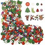 Sumind 300 Pezzi Bottone di Legno da Natale Bottoni in Resina Craft Misto Bottone di Cucitura con 100 Pezzi Piccole Campane Colorate per Le Decorazioni di Natale