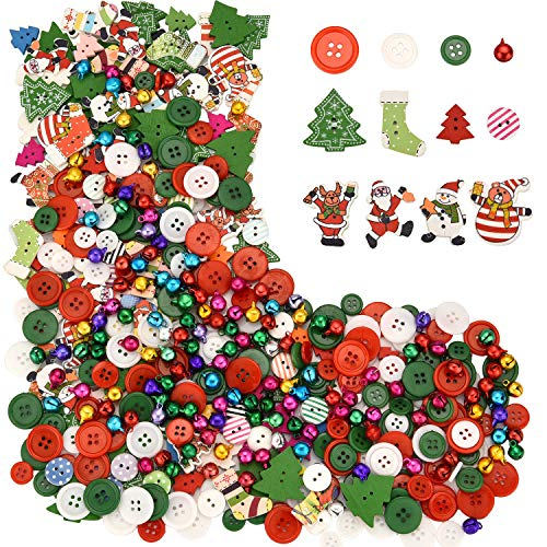 Sumind 300 Pieces Christmas Wooden Button Resin Buttons Craft Mix Sewing Button with 100 Pieces Colorful Small Bells for Christmas Decorations