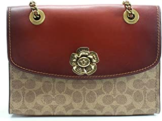 COACH Women's Parker in Signature Canvas With Tea Rose Turnlock B4/Rust One Size