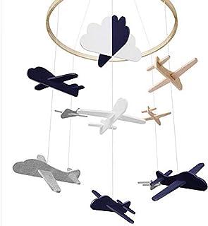 Dreamseeker Airplane and Cloud Crib, Mobile Felt Bed Bell, Decorative Crib for Boy Kindergarten