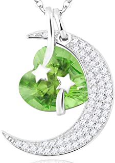 I Love You to the Moon and Back Necklace LC Peridot Shooting Star Jewelry for Women Teen Girls Birthday Gifts Mom Wife Sterling Silver