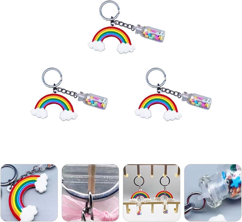 BESPORTBLE 3pcs Rainbow Keychain Star Keyring Handbag Backpack Shoulder Bag Charm Pendant Ornament for Graduation Birthday Party Favor