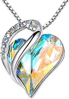 """Leafael Infinity Love Heart Pendant Necklace Birthstone Crystal Jewelry Gifts for Women, Silver-tone, 18""""+2"""""""