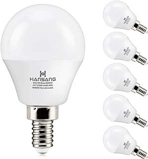 6 watt (60w Equivalent) Hansang LED Bulbs,E12 Small Base Candelabra Round Light Bulb,600 Lumen,Warm White 2700K,A15 LED Bulb Globe Shape,Non dimmable,G45 Ceiling Fan Light Bulbs (6 Pack)