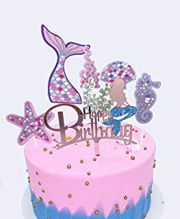 DeMissir Rose Golden Mermaid Happy Birthday Cake Toppers, A Series of Pink Glitter Paper Marine Life Cupcake Topper, Birthday Cake Supplies Decorations Set,Pack of 7-Mermaid