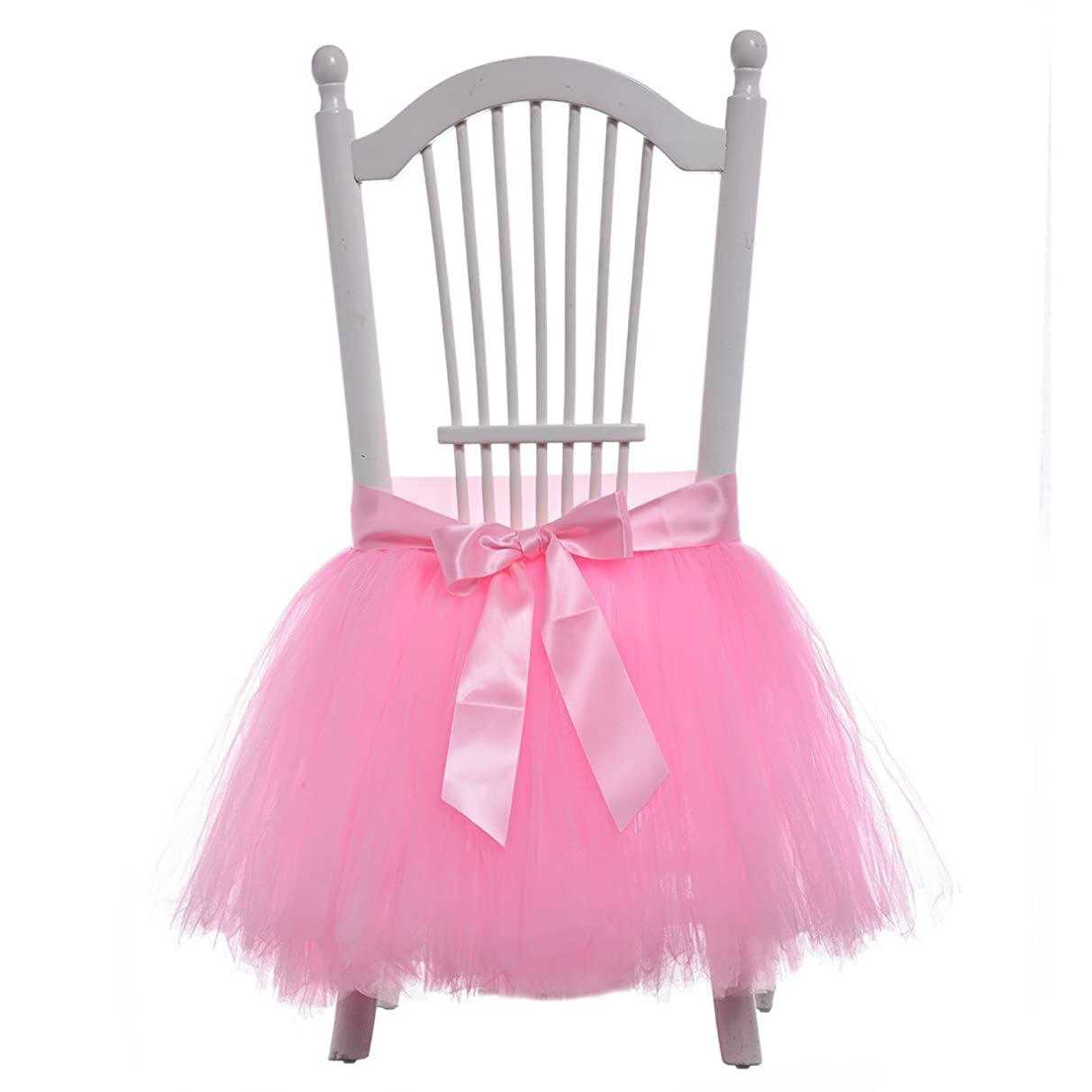 FLYPARTY Handmade Tulle Tutu Chair Skirt with Sash Bow for Party, Wedding & Home Decoration (Pink)