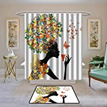 Custom Shower Curtain Floral,Woman Silhouette with Hot Tea Cup Butterflies Wings Daisies Poppy Hibiscus Hairstyle,Multicolor,Print Polyester Fabric Bathroom Decor Sets with Hooks 108
