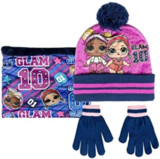 LOL Glam Pompom Set 3 Winter Pieces Kid Neck Warmer (Braga Cuello), Hat and Gloves