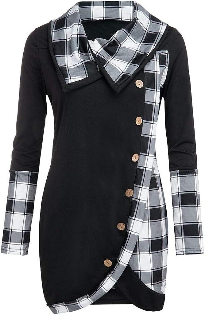 Womens Sweaters Pullover,Wamajoly Long Sleeve Turtleneck Tartan Asymmetric Hem Tops Plaid Patchwork Sweatshirt
