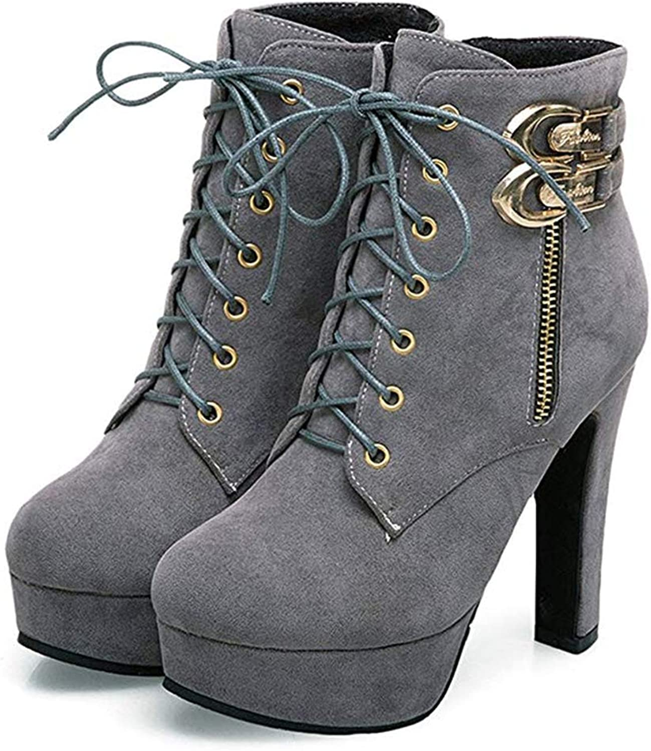 Womens Sexy Martin Boots Chunky High Heels Ankle Booties Autumn Winter shoes