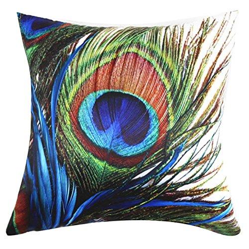 Funda de cojín cuadrada con estampado de pavo real de satén y melocotón, funda de almohada, funda de almohada, funda de almohada, funda de almohada, funda de almohada para sofá, bar, sofá, bar, sofá, silla, 45,7 x 45,7 cm