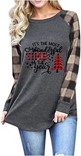 ATRISE Women Christmas Tree Car Graphic T-Shirt,Plaid Raglan Top Casual Long Sleeve Cute Tunic Xmas Blouse