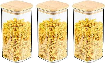 Voorraadpotten met bamboe deksels Set van 3 - Voorraadpotten Glazen kruidenpotjes Luchtdichte glazen potjes van glazen pot...