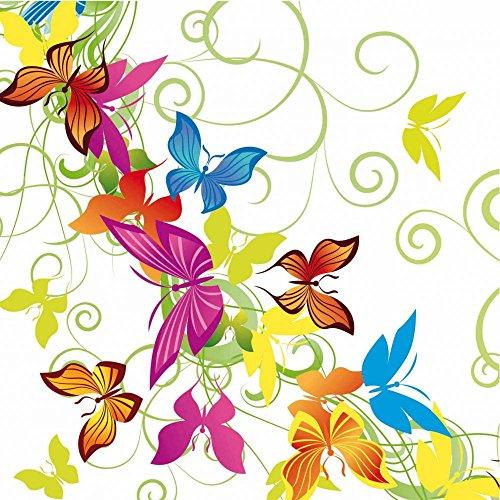 Sovie Home Serviette Papillon   Airlaid-Servietten 40x40 cm   saugstark stoffähnlich   bunt Schmetterling Feier   12 Stück