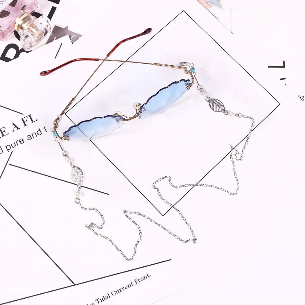 Obmyec Pearl Eyeglasses Chain Leaf Chains Eyeglass Genuine Popular Holde Glasses
