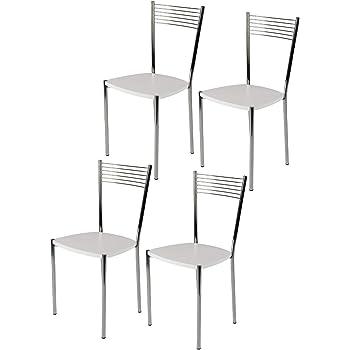 tmcs Tommychairs Set 4 sedie Elegance per Cucina, Bar e Sala da Pranzo, Robusta Struttura in Acciaio Cromato e Seduta in Legno Color Bianco