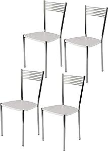 Tommychairs - Set 4 sedie Elegance per Cucina Bar e Sala da Pranzo, Robusta Struttura in Acciaio Cromato e Seduta in Legno Color Bianco