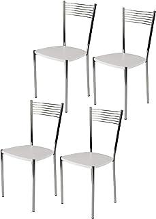 Tommychairs - Set 4 sillas Elegance para Cocina, Comedor, Bar y Restaurante, Estructura en Acero Cromado y Asiento en Madera Color Blanco