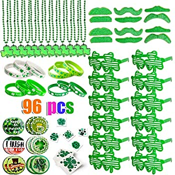 DLY St Patrick's Day Accessories Decorations - 96 Pcs Party Favor Set Including Green Shamrock Necklace Glasses Mustaches Rubber Bracelets Temporary Tattoos Irish Saint Patricks Stickers Accessories Party Supplies for Adults and Kids