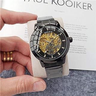 yuge - Reloj mecánico automático de Moda Hombre, Reloj Esqueleto Resistente al Agua, Correa de Cuero para Hombre y Mujer, 95 2