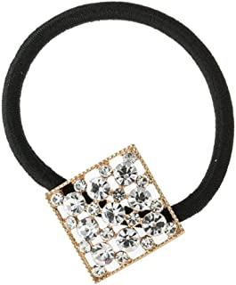 Perfeclan Black Rubber Band Crystal Hair Rope Elastic Ponytail Holder Hair Accessories - Golden, 2.2cm