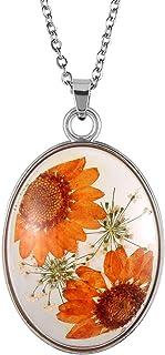 FM FM42 Multicolor Daisy Pressed Flowers Queen Anne's Lace Transparent Oval Pendant Necklace (4 Colors)