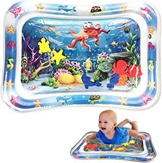 OKSANO Tummy Time Water Play Mat with 10 Pcs Bathtub Stickers, 3 6 Month Newborn Toys Non-Slip Ocean Stickers Baby Inflata...