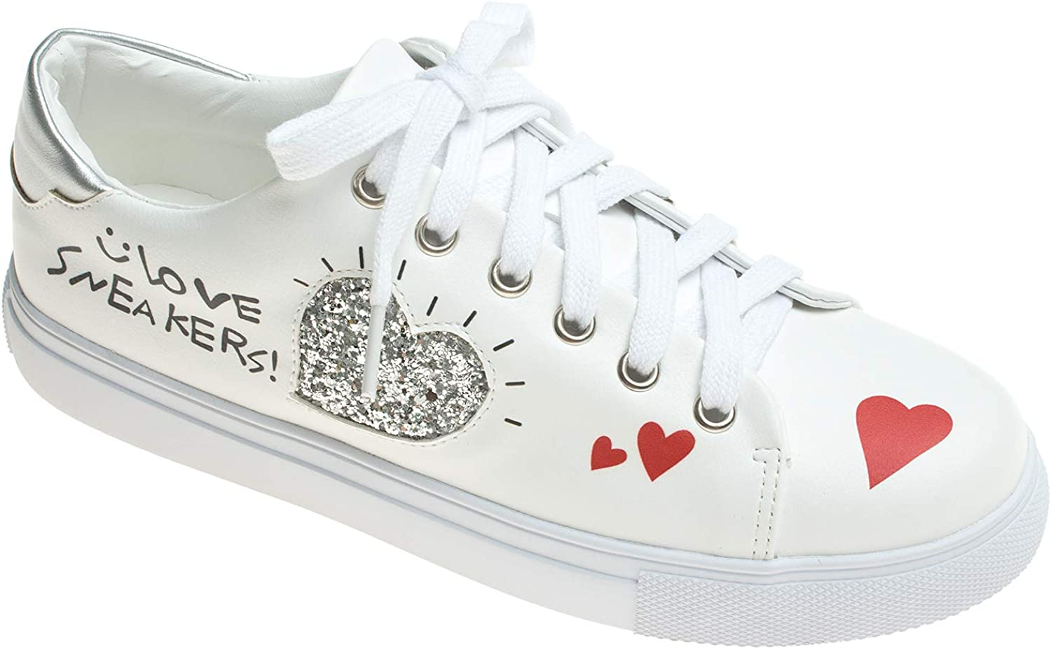 AnnaKastle Womens Casual Sparkle Heart Lace Up Sneaker White