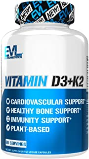 Evlution Nutrition Vitamin D3 + K2 for Immune System Support, Bone, Brain and Heart Health Support, Non-GMO and Gluten-Fre...
