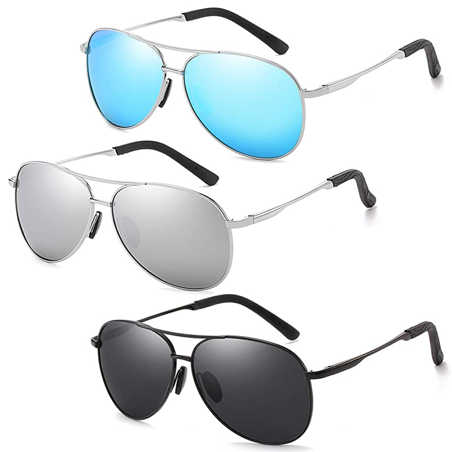 Polarized Classic Aviator Sunglasses for Men and Women 100% UV protection shades Mirrored Lens Metal Frame with Spring Hinges