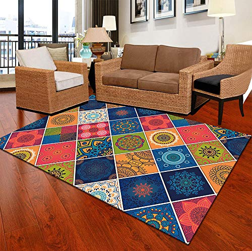 SYFANG Area rugs soft kids room rugs Home Decor entryway mats,Rhombus color patternSoft Fluffy Rug, Easy-care carpet, 80X120cm (31X47inch)
